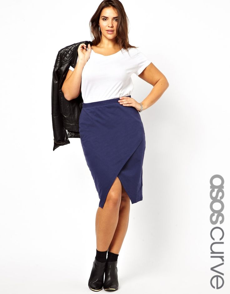 ASOS CURVE Pencil Skirt With Wrap Front