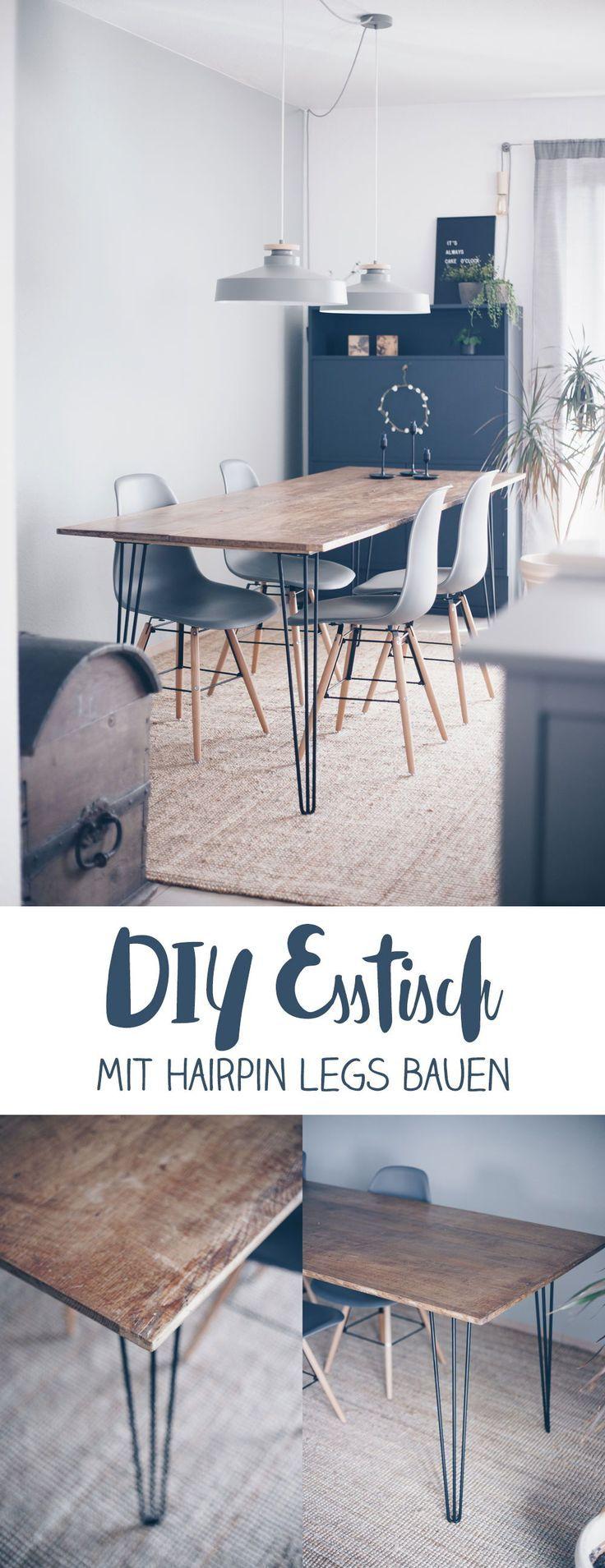 Machen Sie sich einen DIY-Esstisch mit Haarnadelbeinen – bauen Sie Ihre eigenen Möbel – DIY-Idee   – ~ Interior Inspirationen ~