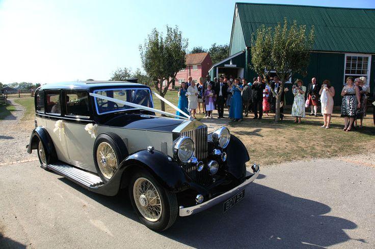 Traditional wedding car arrival at Kent Life