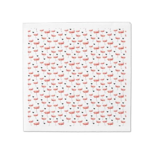 flamingo and hearts disposable napkins