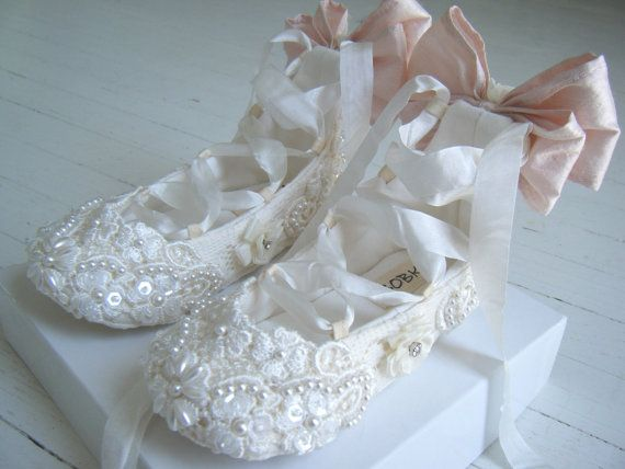 Lace Baby Shoes Ivory Lace ShoesFlower Girl Shoes by BobkaBaby, $150.00