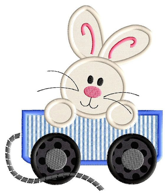 Easter Applique   Bunny Wagon  Instant by AppliqueDownload on Etsy, $3.99