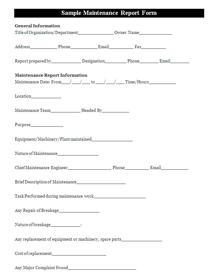 a maintenance report form is a document that is used to
