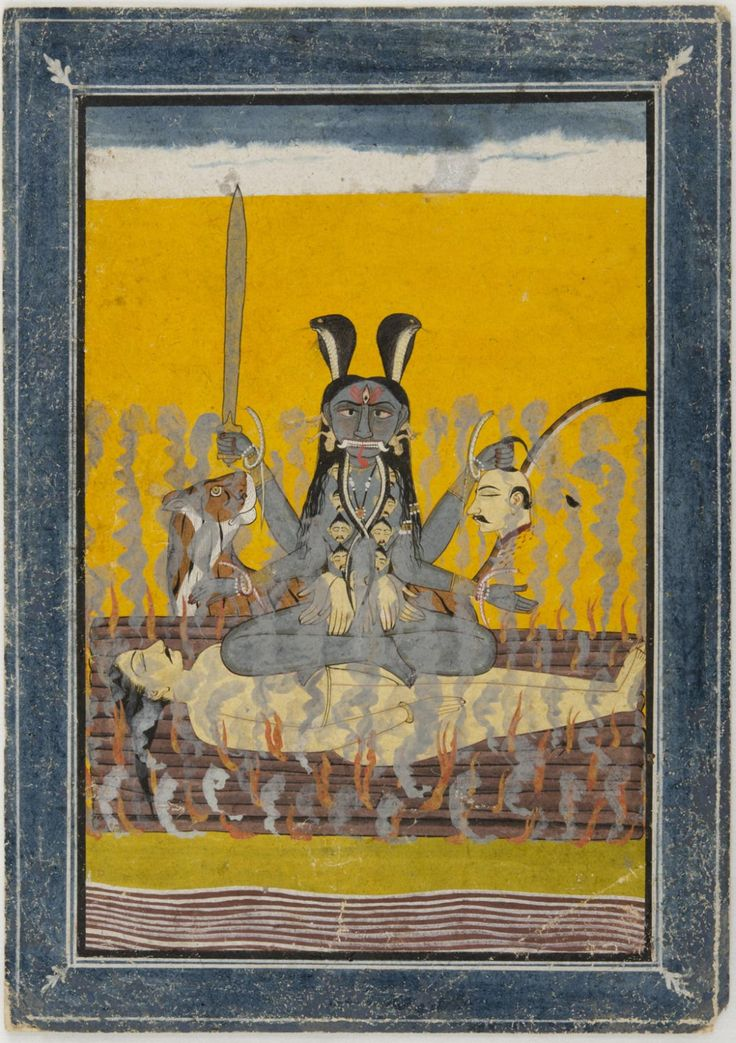 Kali Seated on Shiva  Artist/maker unknown, Indian  Geography: Made in Himachal Pradesh, India, Asia Possibly made in Mandi, Himachal Pradesh, India, Asia Date: c. 1700 Medium: Opaque watercolor with gold on paper Dimensions: Image: 6 × 4 1/4 inches