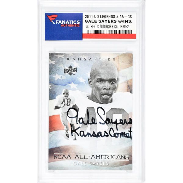 Gale Sayers Chicago Bears Fanatics Authentic Autographed 2011 Upper Deck Legends #AA-GS Card with Kansas Comet Inscription - $99.99