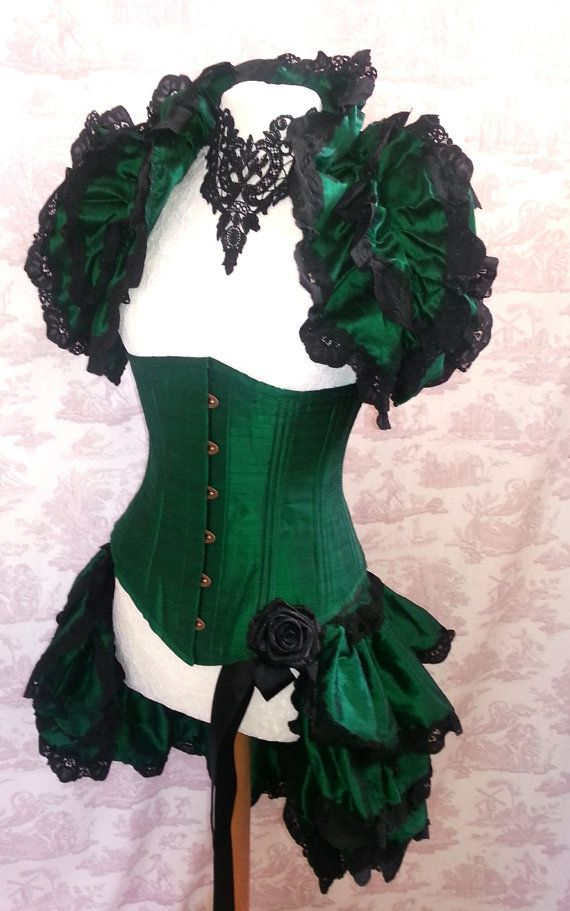 EMERALD Bustle Silk Tie On Bustle Skirt and shrug SET Lolita Victorian Gothic Wedding CLARET By Ophelias Folly by OpheliasFolly 159.00 USD
