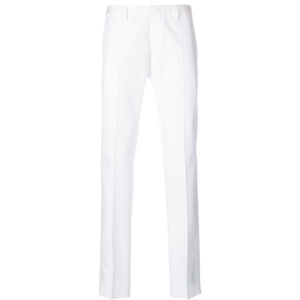 Dsquared2 slim-fit trousers ($515) ❤ liked on Polyvore featuring men's fashion, men's clothing, men's pants, men's casual pants, white, mens white cotton pants, mens slim fit pants, mens white pants, mens elastic waistband pants and mens cotton pants