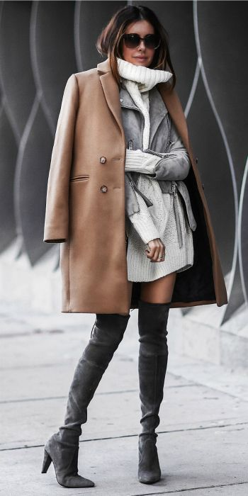 Erica Hoida + totally glam + gorgeous winter style + thigh high suede boots + matching suede jacket + belt detailing   + classic camel overcoat + immediate sophistication!  Coat: Sezane, Suede Jacket: AllSaints Sweater: Faith Connection, Boots: Stuart Weitzman, Bag: Chloe.