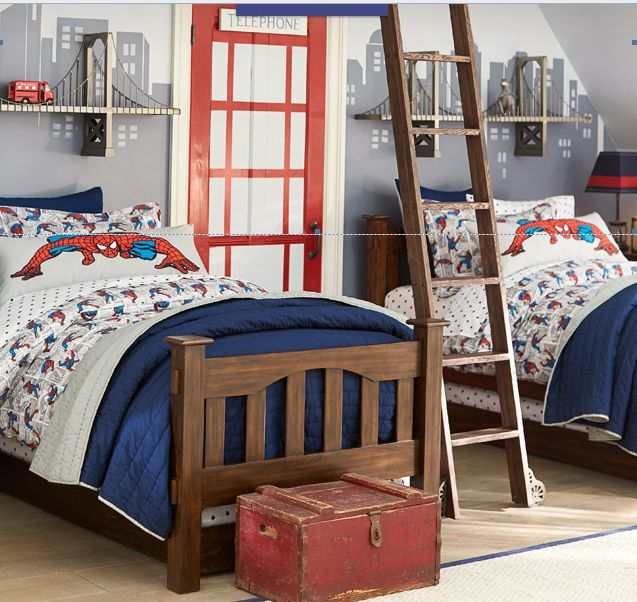 Pottery barn kids spiderman bedroom very cool kids for Pottery barn kids rooms