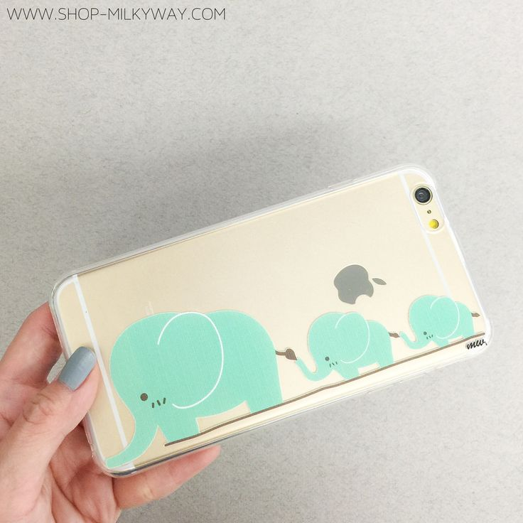 """Clear Plastic Case Cover for iPhone 6 (4.7"""") Elephant Family... It's there one for a Samsung?? So cute!"""