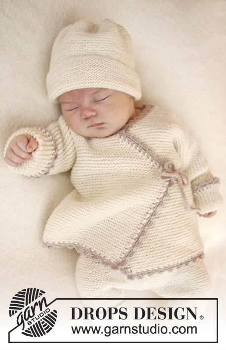 Baby Drops 25-11, Knitted wrap cardigan and crochet edge in Baby Merino