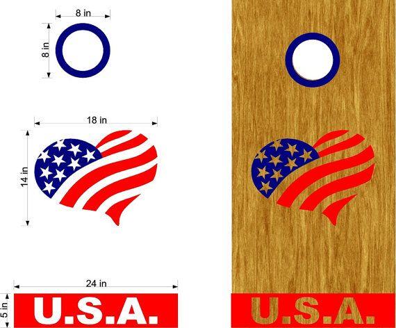 USA Heart Patriotic Flag Cornhole Decals Wrap Sticker Come With Rings-- Personalized Cornhole- Custom Cornhole Decals-Vinyl Stickers