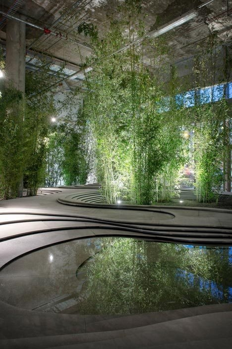 Bamboo trees sprouted up around a topographical landscape of stone and water at this installation created by Japanese architect Kengo Kuma in Milan last month.
