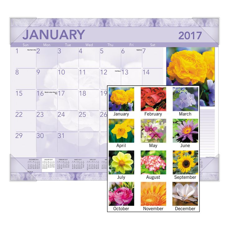 "At-A-Glance 2017 Antique Floral Monthly Desk Pad Calendar 22"" x 17"""
