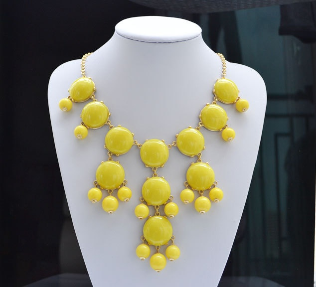 Yellow bubble necklace, Bib Statement Necklace, holiday party,bridesmaid gifts, Beaded Jewelry, wedding necklace, Free Shipping