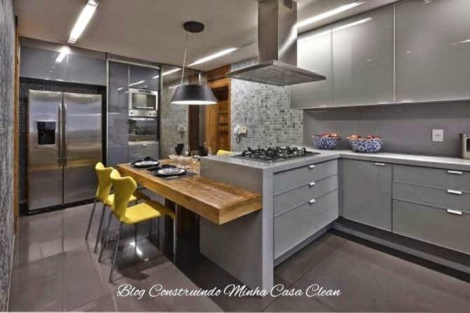 Construindo Minha Casa Clean: Cozinhas Modernas com Cinza!!! Pequenas