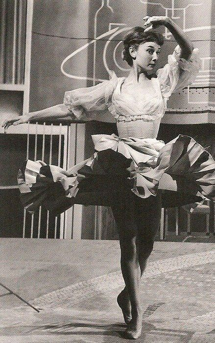 Audrey Hepburn rehearsing for a dance.