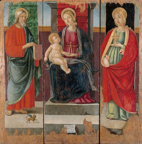 Trittico raffigurante la Madonna con Gesù bambino in trono, San Marco Evangelista e Santa Maria Maddalena di  Pietro Paolo Agabiti