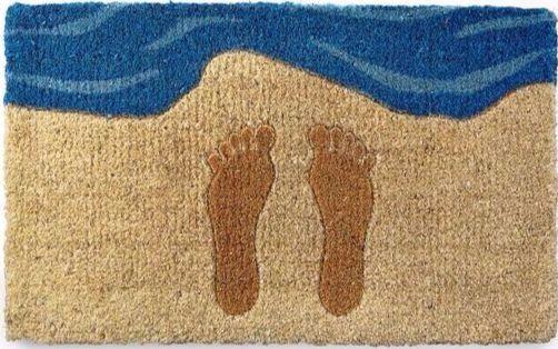 Fun Footprints in Sand Beach Doormat! Featured on Beach Bliss Designs.