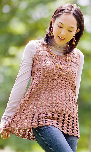 Free Crochet Camisole Pattern   http://gosyo.co.jp/english/pattern/eHTML/dress_tunic.html