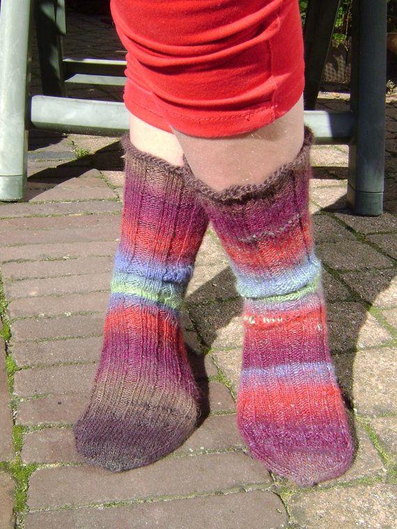 Handgebreide wollen sokken frisse herfstkleuren  door AnnemiekeA, $49.00