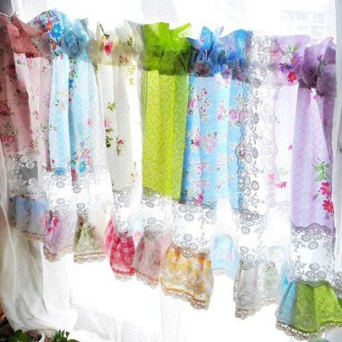 Shabby Chic Curtain. Rose Garden Lace Quilt Valance. Rose Curtain. Handmade  Quilt Curtain