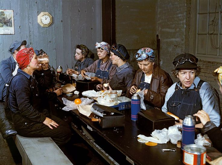 "Photo by Jack Delano, 1943. Women workers employed as wipers in the roundhouse having lunch in their rest room, Chicago and Northwest Railway Company. Clinton, Iowa, April 1943.  ""Bound for Glory: America in Color, 1939-1943"". Exhibition at Library of Congress, 2016-2017.  https://www.loc.gov/exhibits/bound-for-glory/exhibition-items.html https://www.loc.gov/pictures/item/fsa1992001032/PP/"