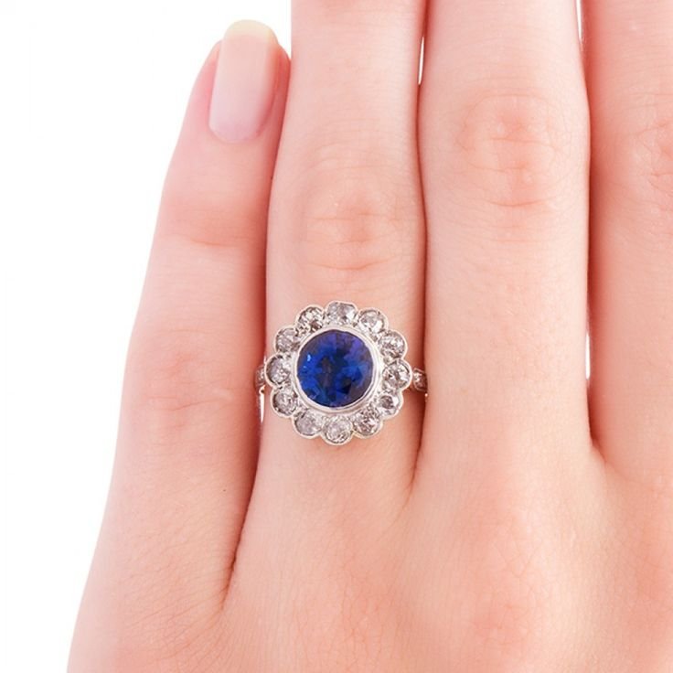 Antique Sapphire Engagement Ring | Trumpet & Horn