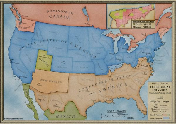 A map of America postulating boundaries after a Confederate victory in the Civil War.  The link will take you to ten pretty good alternate history novels.