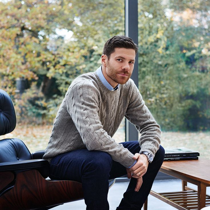 Mr Xabi Alonso for MR PORTER wearing Ralph Lauren Purple Label Sweater, Ermenegildo Zegna Shirt, Tom Ford Jeans and Cheaney Boots.