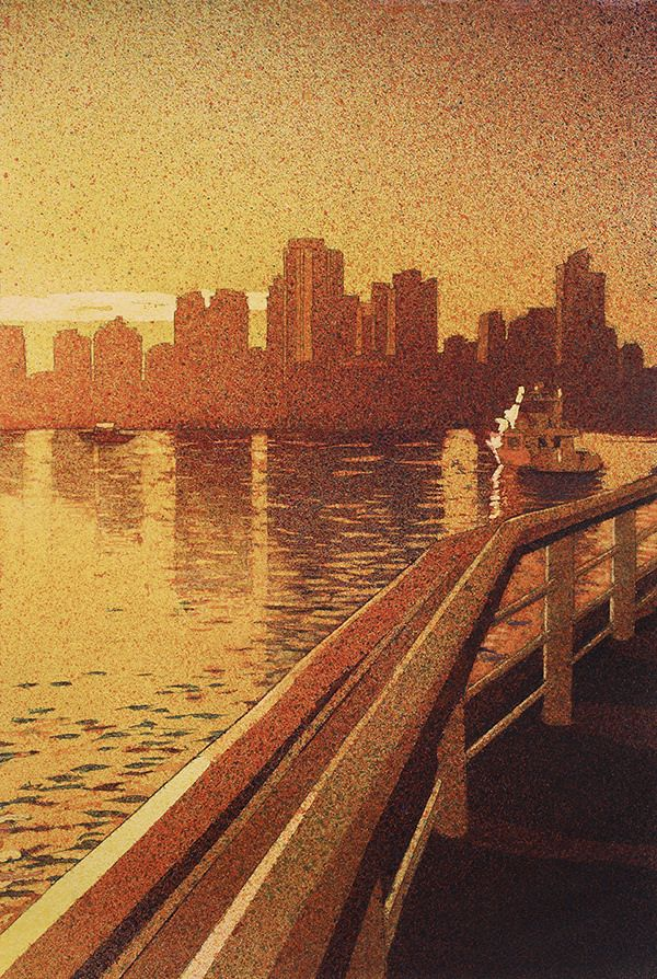 """Vancouver Sunrise"" mouth atomized watercolor 15x22"""