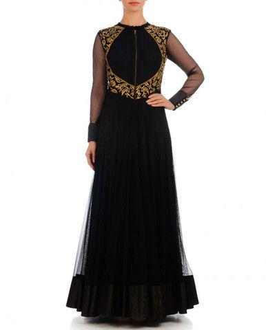 This gown is made in pure net fabric. Yoke part is made in velvet fabric which have golden color zari work and front zip closure with padded cups. Back Neck of this gown is also designed in a designer