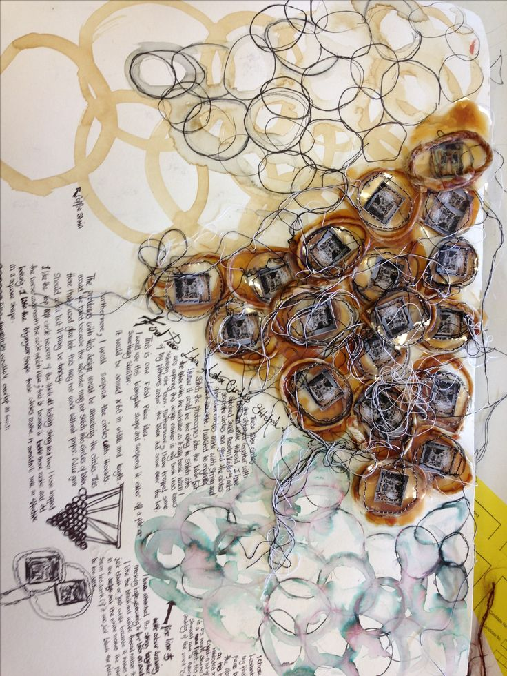 Textiles Jewellery Sketchbook page - the creative design process; mixed media drawings  layout
