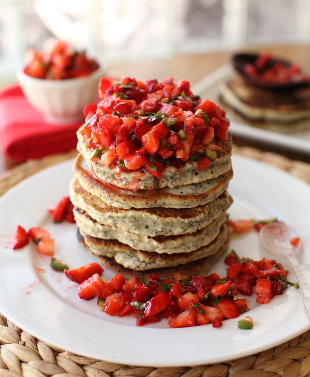 Chia Flapjacks with Strawberry Salsa   31 Healthy And Delicious Ways To Cook With Chia Seeds
