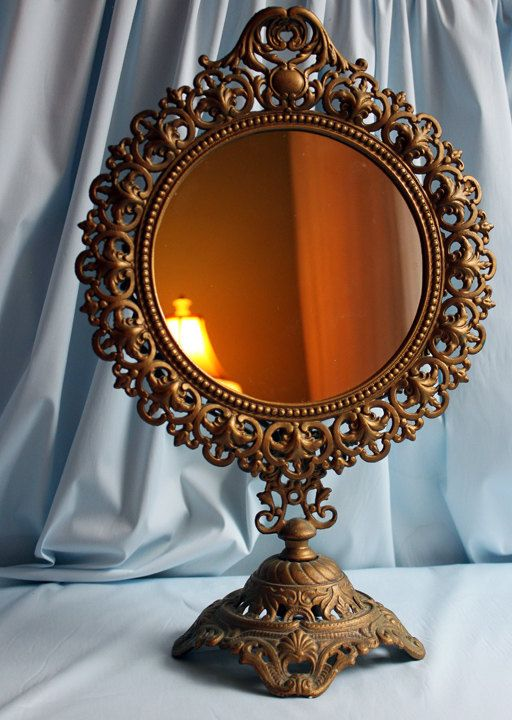 180 best vintage vanity images on pinterest trays for Standing glass mirror