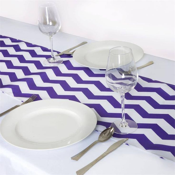 Jazzed Up Chevron Table Runners Purple/White | The appealing chevron design mimics the vivaciousness of dancing waves that always continue flowing with the current. This trendy zig-zag design is truly pleasing to eyes and a mesmeric attraction to cheerful guests who will be snapping classy selfies with your chevron accented tablescape. Besides waves, the continuous motion of this zig-zag design represents all positive things like musical beats, shifting moods, heartbeat, in fact everything…