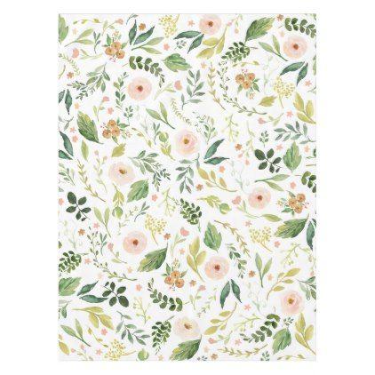 Botanical Spring Flowers Pink Tablecloth - pattern sample design template diy cyo customize