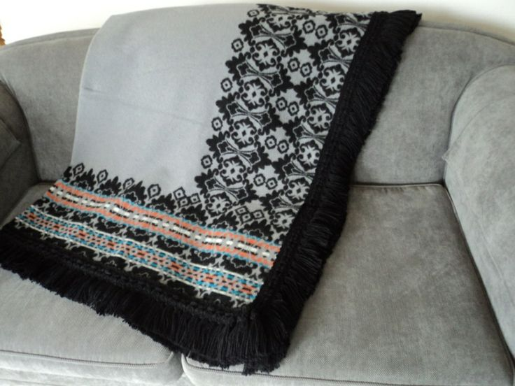 Motsoako traditional blanket with black fringing. Africa meets Europe http://annmack.co.za/store/products/category/basotho-blankets/