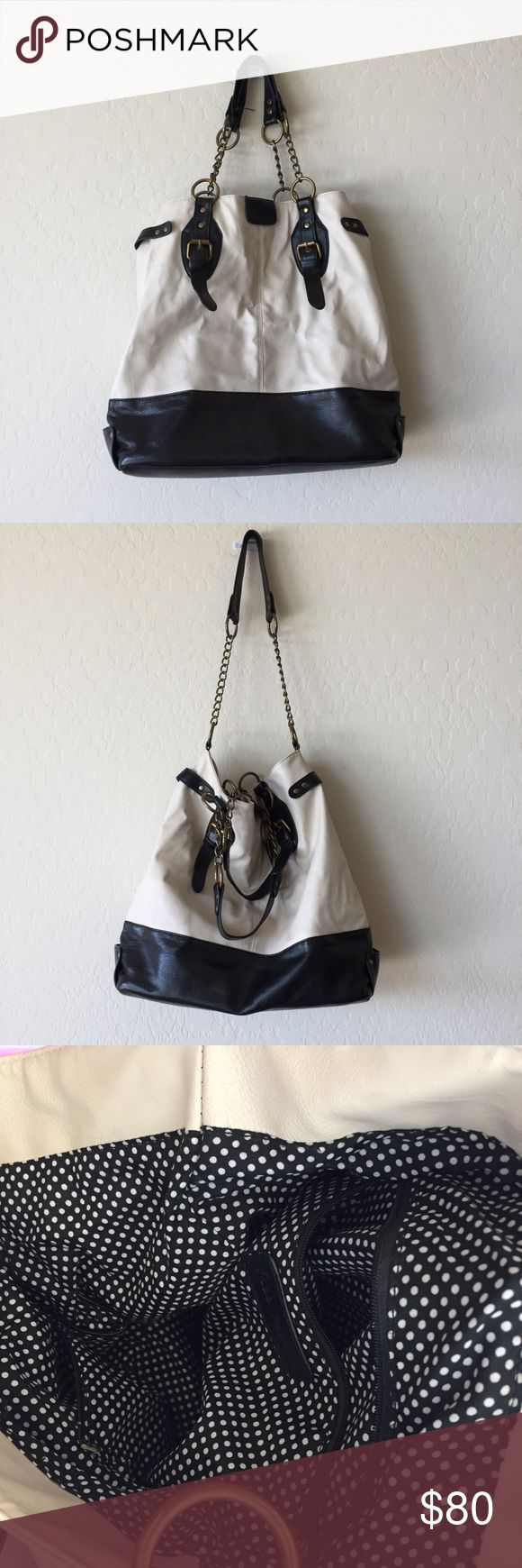 Free People large bucket tote large tote with shoulder handles and a longer crossbody strap. polka-dot interior lining. great condition. NO TRADES. Free People Bags Shoulder Bags