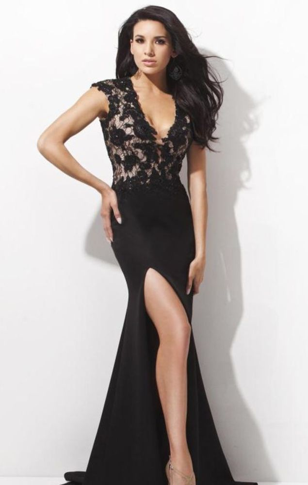 Chic and sweet, this stunning gown from Tony Bowls Evening TBE21410 is a beautiful choice for any special event. The deep v-neckline bodice has thick straps and features romantic lace atop fashionable illusion fabric for a sultry and stylish look. | eBay!