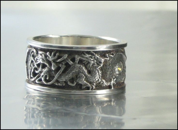 Mens Celtic Knotwork And Dragon Wedding Ring