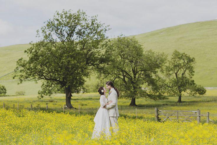 Creative wedding photography // Peak District wedding // DIY wedding // Buttercup field // It's so Jane Eyre! // By Inta Photography // http://intaphotography.com