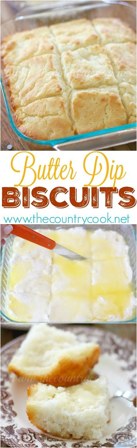 Butter Dip Buttermilk Biscuits recipe from The Country Cook. So easy and so yum! Best homemade biscuit ever!