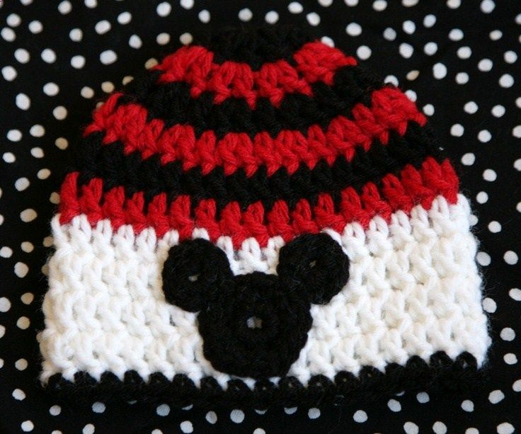 Crochet Disney Mickey Mouse hat your choice of size, boys mickey hat, girls mickey hat, crochet mickey mouse hat. $12.95, via Etsy.