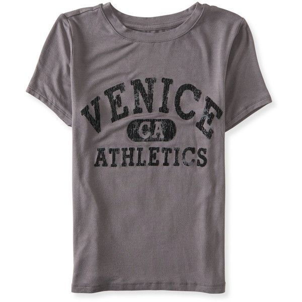 Aeropostale Cape Juby Venice CA Graphic T ($10) ❤ liked on Polyvore featuring tops, t-shirts, med heather grey, ripped t shirt, beach graphic tees, heather grey t shirt, holiday tees and slim fit graphic t shirts