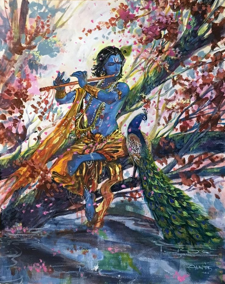 Krishna and the flute. Painting by Indian artist Abhishek Singh. Gouache & Acrylic on Archival Paper. Original painting.