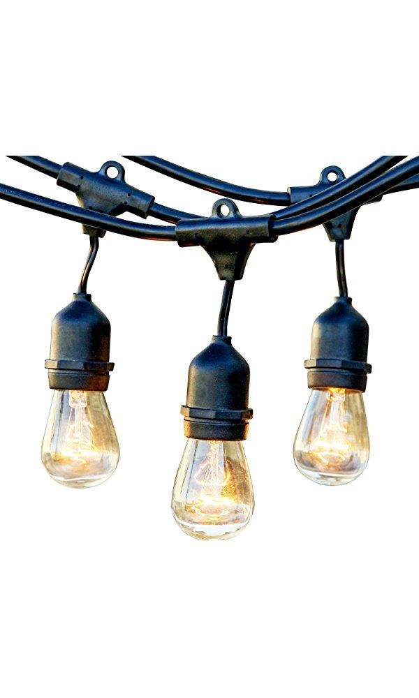Brightech - Ambience Pro - Outdoor Weatherproof Commercial-Grade String Lights with Hanging Sockets - WeatherTite Technology - 11S14 Incandescent Bulbs - Heavy-Duty 48-Foot String - Black Best Price