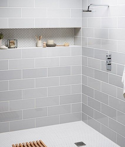 The muted colors of this shower alcove are fantastic. I love the contrasting grout color to make the penny tile pop. #ThisOldHouse shower…