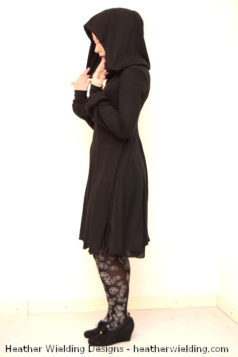 Hooded Dress Sewing Pattern by Heather Wielding Designs - made with two layers of light jersey,