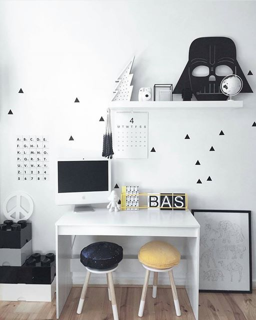 Instagram media by theworkspacestylist - Kids Workspace Inspo and Image Regram thanks to @minibots ❤❤❤ This is one of the coolest ✌ Kids Workspaces we have ever come across created by the very talented @minibots a Lifestyle Blogger based in Australia. Monochrome with a pop of yellow and Darth Vadar...we love it all!❤ Thanks @minibots we adore your Kids Workspace style!❤❤❤